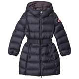 Colmar Navy Empire Long Down Coat with Hood and Belt
