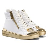 Michael Kors White and Gold Zia Ivy Blu Zip Hi Tops
