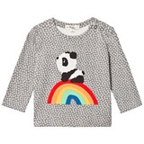 The Bonnie Mob Grey T-Shirt with Hash Tag Print and Rainbow Panda Applique