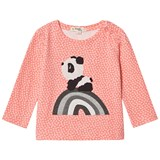 The Bonnie Mob Sorbet T-Shirt with Hash Tag Print and Rainbow Panda Applique