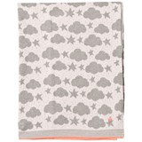 The Bonnie Mob Pale Pink Stars And Clouds Jacquard Baby Blanket