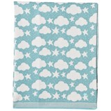 The Bonnie Mob Pale Teal Stars And Clouds Jacquard Baby Blanket