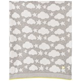 The Bonnie Mob Grey Stars And Clouds Jacquard Baby Blanket