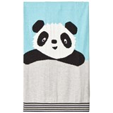 The Bonnie Mob Panda Intarsia Baby Blanket Pale Blues
