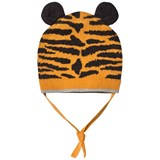 The Bonnie Mob Tiger Stripe Jaquard Hat With Ears Honey