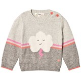The Bonnie Mob Pink and Grey Flash Cloud Intarsia Sweater