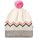 The Bonnie Mob Cream and Pink Chunky Zig Zag Jacquard Pom Pom Hat