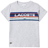 Lacoste Grey and Multi-Colour Stripes Branded T-Shirt