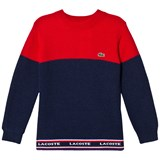 Lacoste Red and Navy Colour Block Branded Knit Jumper