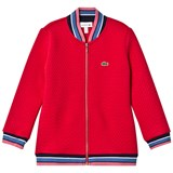 Lacoste Red Quilted Bomber Jacket
