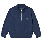 Gant Grey Melange Half Zip Knit Jumper