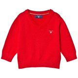 Gant Red Cotton V Neck Jumper