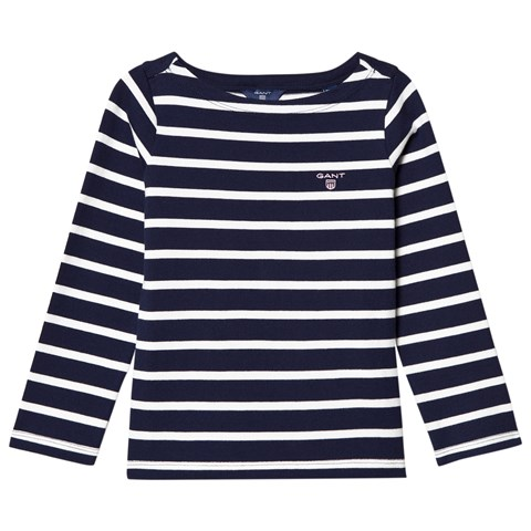 Gant Navy and White Stripe Boat Neck Jumper
