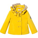 Monnalisa Mustard Neoprene Frill Hooded Coat