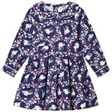 Rachel Riley Navy Deer Print Flannel Dress