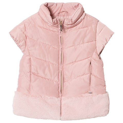 Mayoral Pale Pink Padded Faux Fur Gilet