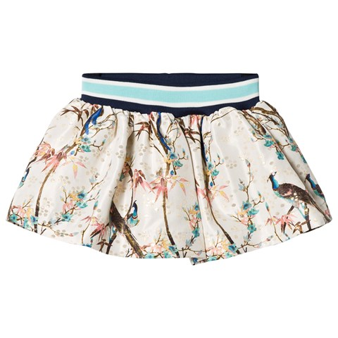 No Added Sugar Cream Peacock Printed Elastic Waist Skirt