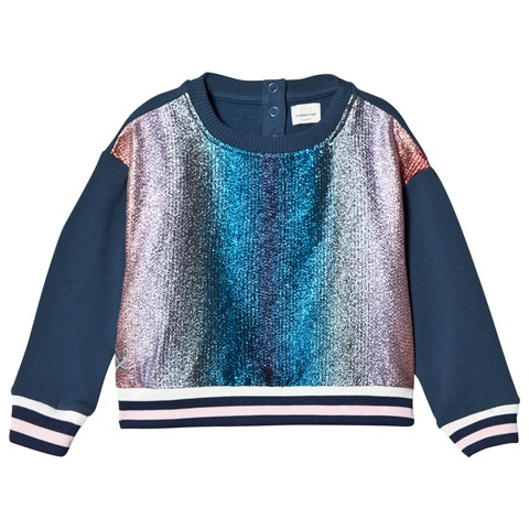 No Added Sugar Pink and Blue Lurex Stripe Sweater