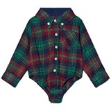 Andy & Evan Navy Red Green Plaid Flannel Shirtzie