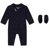 Andy & Evan Navy Slub Toggle Romper