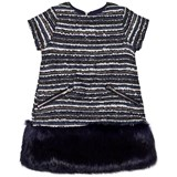 Andy & Evan Navy Multi Stripes Brocade Fur Dress
