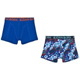 Bjorn Borg 2 Pack of Navy Print and Solid Trunks