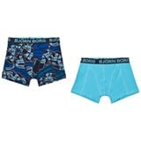 Bjorn Borg 2 Pack of Blue Branded Print and Solid Trunks
