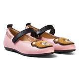 Moschino Pink Leather Bear Applique Pumps