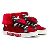 Moschino Red Suede and Faux Fur Heart High Top Trainers
