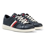 Tommy Hilfiger Navy Branded Leather Lace Trainers