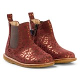 Angulus Brown and Bronze Animal Print Zip Chelsea Boots