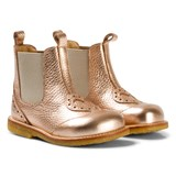 Angulus Rose Gold Heart Brogue Chelsea Boots