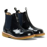 Angulus Navy Patent Brogue Chelsea Boots