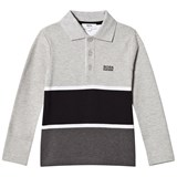 BOSS Grey and Black Stripe Long Sleeve Polo