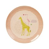 RICE A/S Kids Bamboo Melamine Lunch Plate w. Girls Animal Print