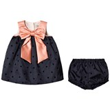 Hucklebones Navy and Pink Bow Trapeze Dress and Bloomers