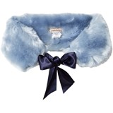 Hucklebones Powder Blue Faux Fur Stole with Satin Ribbon
