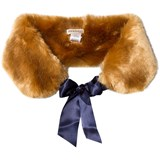 Hucklebones Chestnut Brown Faux Fur Stole with Satin Ribbon
