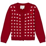 Le Chic Red Hearts Intarsia Cardigan