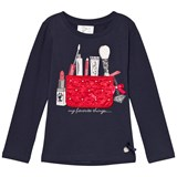 Le Chic Blue & Navy Make Up Bag Long Sleeve T Shirt