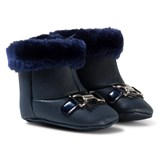 Mayoral Navy Patent Faux Fur Cuffed Boots with Gold Bow