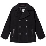 BOSS Black Wool Peacoat with Collar