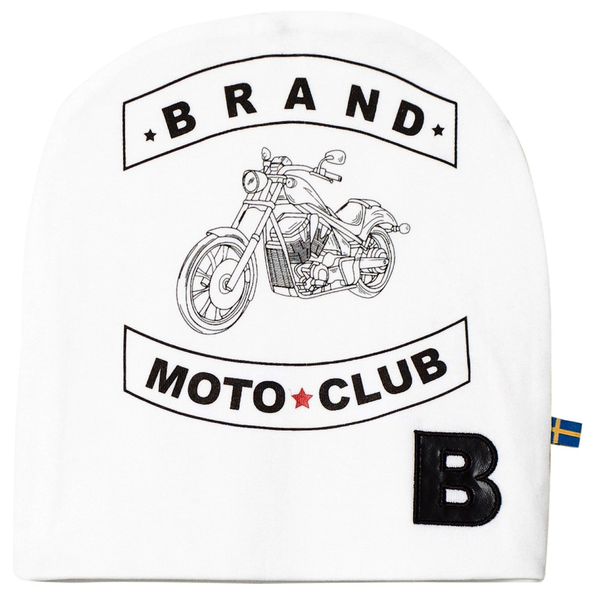 The BRAND White Hat With Moto Print