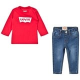 Levi's Red Long-Sleeved Tee and Jeans Gift Set