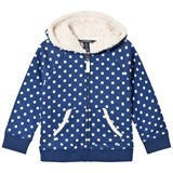 Lands' End Navy White Dot Sherpa Hoodie