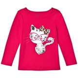 Lands' End Red Smarty Cat Long-Sleeved Graphic Tee