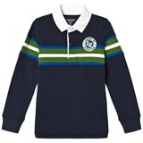 Lands' End Navy Long-Sleeved Stripe Rugby with Crest