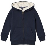 Lands' End Navy Solid Sherpa Lined Hoodie