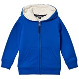 Lands' End Blue Solid Sherpa Lined Hoodie