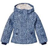 Lands' End Navy Fleece Lined Hearts Printed Jacket